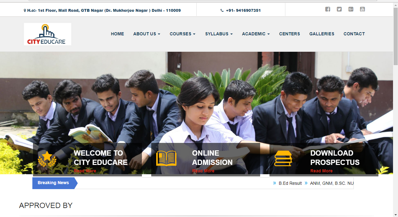 WordPress Website For Collage Admission in Education Sector
