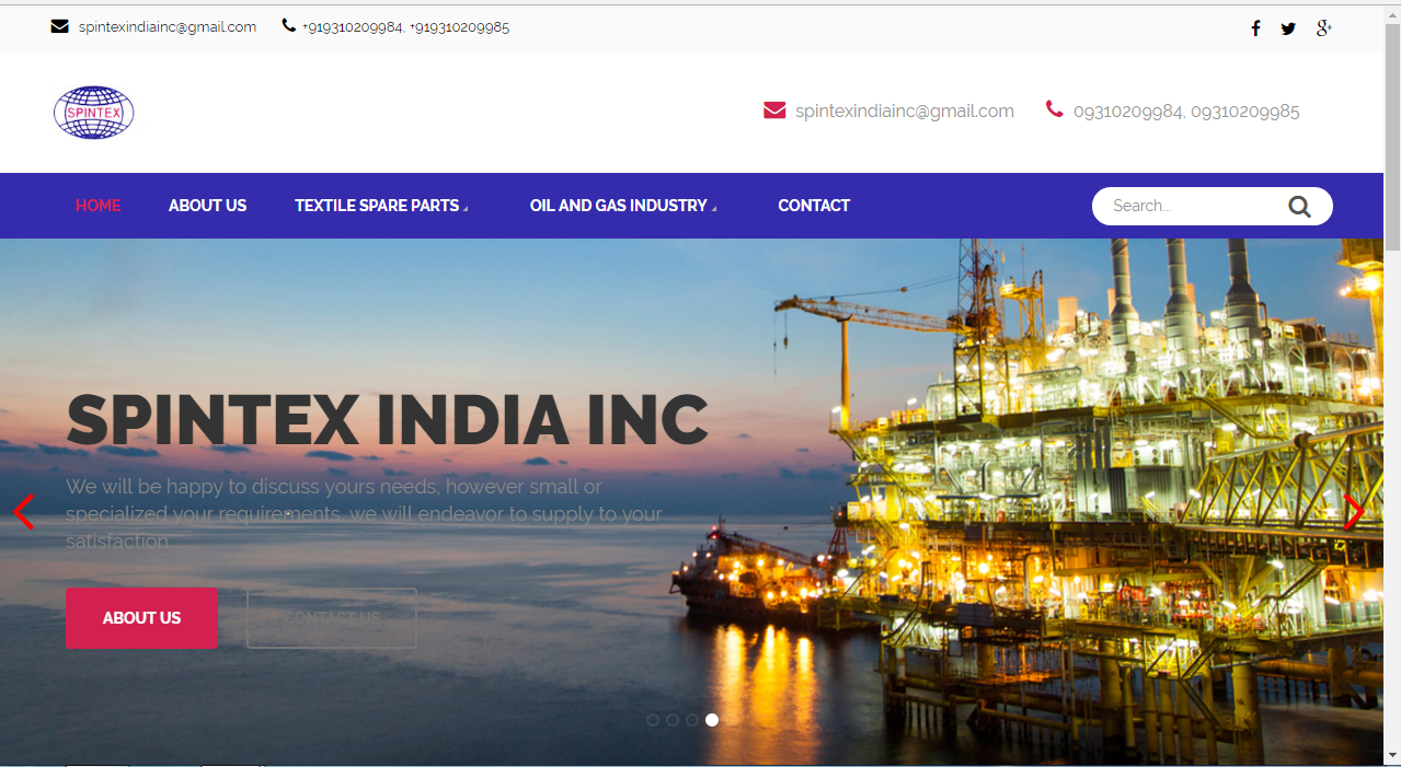 Importer of Spare part of Textile Machine Spintex India Inc. website on Word Press